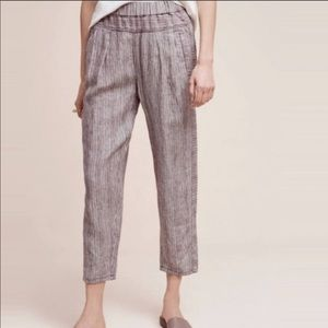 Anthropologie Hei Hei Striped Linen Ankle Pants
